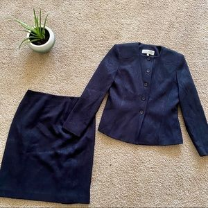 vtg Larry Levine Blue Suit Jacket & Skirt Sz 6P